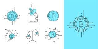 Digital  money bitcoin concept icon set. Set of Line Stroke Vector Bitcoin and Cryptocurrency Icons design Stock Photos