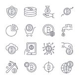 Digital money, bitcoin  line icons, minimal pictogram. Design. Editable stroke for any resolution. EPS 10 Stock Image