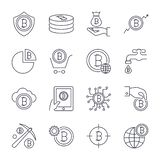 Digital money, bitcoin vector line icons, minimal pictogram design. Editable stroke for any resolution. stock illustration