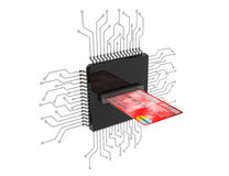 Digital Money Concept. Credit Card over Microchips with circuit Stock Image