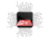 Digital Money Concept. Credit Card over Microchips with circuit Royalty Free Stock Photos