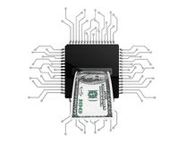 Digital Money Concept. Dollars Bill over Microchips with circuit Royalty Free Stock Photos