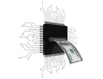 Digital Money Concept. Dollars Bill over Microchips with circuit Stock Photos