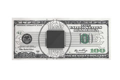 Digital Money Concept. Microchip with circuit over Dollars Bill Stock Images