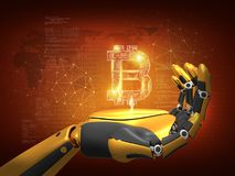 Digital money Concept, Robot holding bitcoin, 3D rendering, abstract background. stock illustration