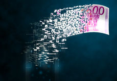 Digital money. Digitizing of cash and paper money Stock Image