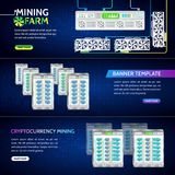 Digital money. High-tech technology vector illustration. Cryptocurrency concept banner background with video card and fans. Mining farms. Digital money. High stock illustration