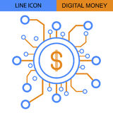 Digital Money Line vector icon.  Royalty Free Stock Photography