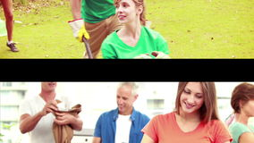 Groups of volunteers. Digital montage of Groups of volunteers stock video footage