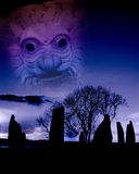 Digital montage with several images inspired by a the ancient heritage of the British Isles. Illustration inspired by the Druids vector illustration