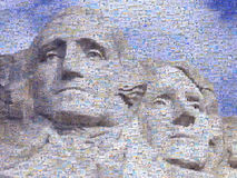 Digital mosaic of small images comprising Washington and Jefferson on Mt. Rsuhmore Stock Images