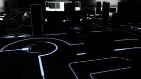 Digital motherboard and CPU. 3D animation dark vector illustration