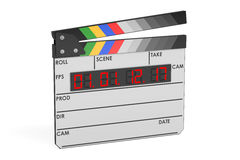 Digital movie clapper board, 3D rendering. Isolated on white background Stock Images