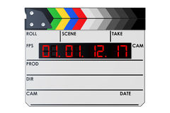 Digital movie clapper board, clapperboard. 3D rendering. On white background Stock Photography