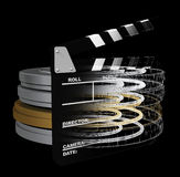 Digital movies. Movie slate and reel cans computer generated Stock Photography