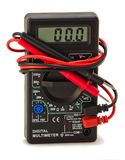 Digital multimert with black and red probes. Electric multimert with black and red probes Stock Photos