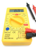 Digital Multimeter 04. A yellow multimeter with corresponding probes stock image