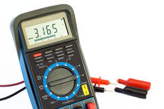 Digital multimeter. With test leads royalty free stock photo