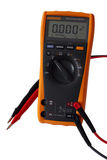 Digital Multimeter. Yellow digital electric multimeter with probes isolated on white royalty free stock image