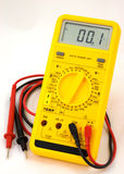 Digital multimeter. View of a digital multimeter with associated test probes as used in testing electronics circuits stock photos