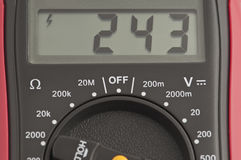 Digital multimeter. Measures the voltage in an electrical network Royalty Free Stock Images