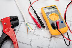 Digital Multimeter On Blueprint Stock Image