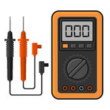 Digital multimeter. Electrical Measuring Instrument Voltage Amperage Ohmmeter and Power. Vector Stock Images