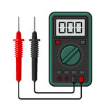 Digital multimeter. Electrical Measuring Instrument Voltage Amperage Ohmmeter and Power. Vector Stock Image