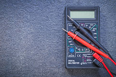 Digital multimeter electrical tester on black background electri Royalty Free Stock Photo