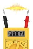 Digital multimeter med CHOCK! ord på skärm- och elkraftexponering Royaltyfri Foto