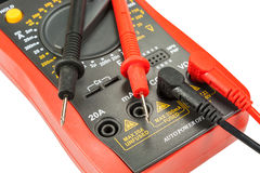 Digital multimeter with probes isolated on a white background Royalty Free Stock Photo