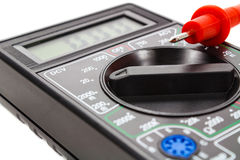 Digital multimeter with probes on a white background stock image