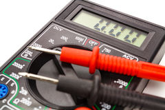 Digital multimeter with probes on a white background stock photos