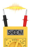 Digital multimeter with SHOCK! word on display and electric flash Royalty Free Stock Photo