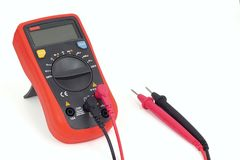 Digital multimeter with test leads. An autorange digital multimeter with LCD for measuring AC or DC voltage, current, resistance and more royalty free stock images