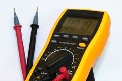 Digital multimeter with test leads connected -  Royalty Free Stock Photography