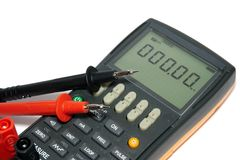 Digital multimeter. Is on a white background stock photo