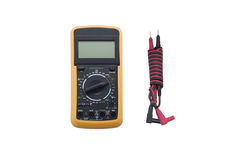Digital multimeter with wires on white background stock photos