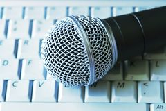 Digital Music. Professional Microphone On Laptop Keyboard Stock Images
