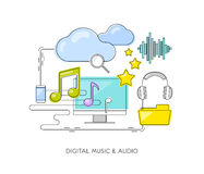 Digital music & audio concept. Thin line flat style icon composi Royalty Free Stock Images