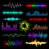 Digital music equalizer audio waves set vector llustration design template audio signal visualization Stock Photography