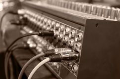 Digital music equipment, music mixer with electric wire Royalty Free Stock Image