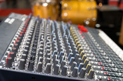 Digital music equipment, music mixer with track Stock Photos