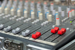 Digital music equipment, music mixer with track Royalty Free Stock Photo