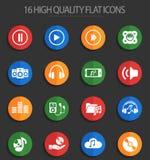 Digital music 16 flat icons. Digital music web icons for user interface design Stock Illustration