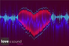 Digital music heart Equalizer. Vector illustration. Royalty Free Stock Photography