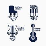 Digital music logo. Set of digital music logo design templates. Vector illustration Stock Image