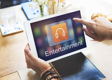 Digital Music Streaming Multimedia Entertainment Online Concept. People Listening Digital Music Streaming Multimedia Entertainment Online Royalty Free Stock Photo