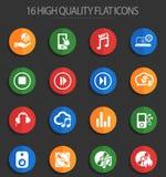 Digital music 16 flat icons. Digital music web icons for user interface design Vector Illustration