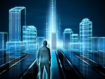 digital natttunnel för binär stad Arkivbilder